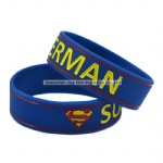 Promotional Debossed Filled Ink Silicone Bracelets Superman Silicone Wristband