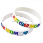 Debossed Filled Ink Autism Dad and Mom Warning Silicone Wristband