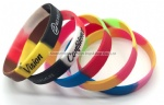 Colorful Swirl Debossed Filled Color Silicone Bracelets