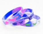 Swirl Silicone Bracelet, Debossed Color Filled Logo Silicone Band